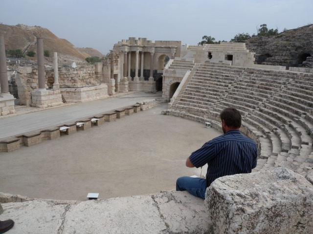 Looking over Tom Brimmer's shoulder at Beit Shean Theater